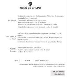 Menú para grupos 29 euros