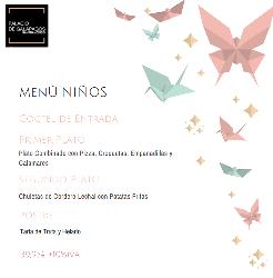 Menú para niños en Palacio Galápagos
