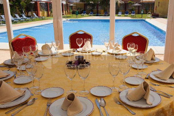 Montaje Salón Dunas con vistas a la piscina  Hotel Dunas Puerto