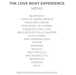 Menú The Love Boat Experience