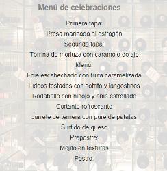 Menú Celebraciones