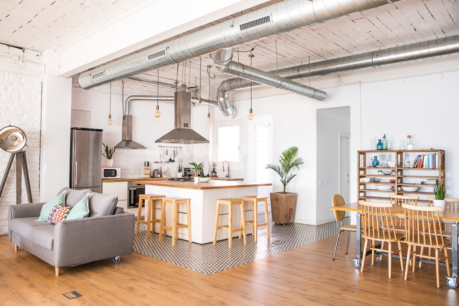 Vista de cocina open space Take loft BCN