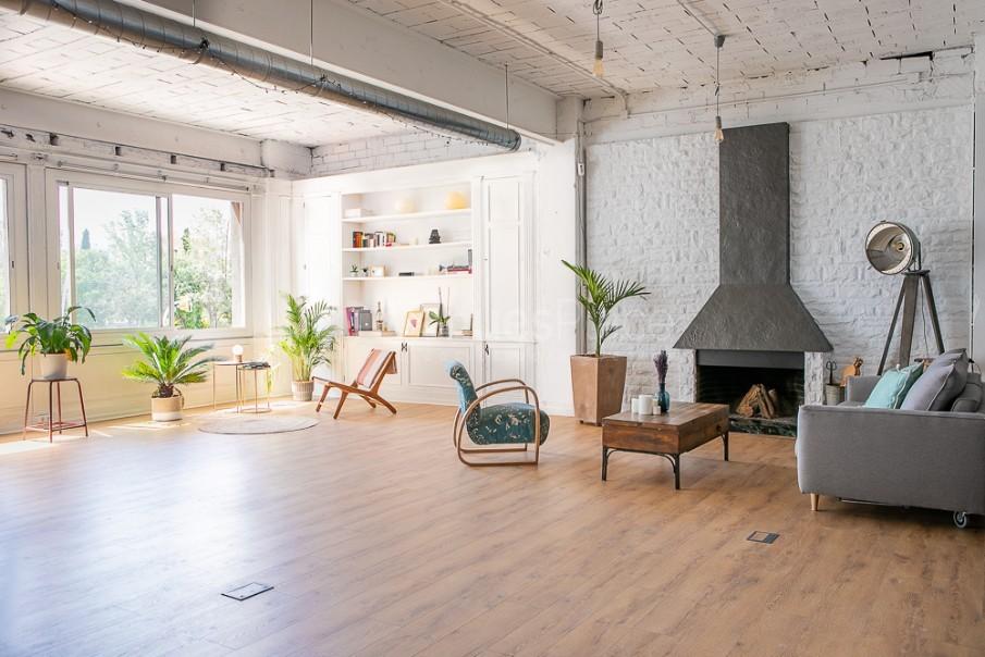 Living y biblioteca con chimenea en Take loft BCN