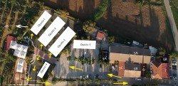 Distribución de espacios y posibilidades para instalación de carpas